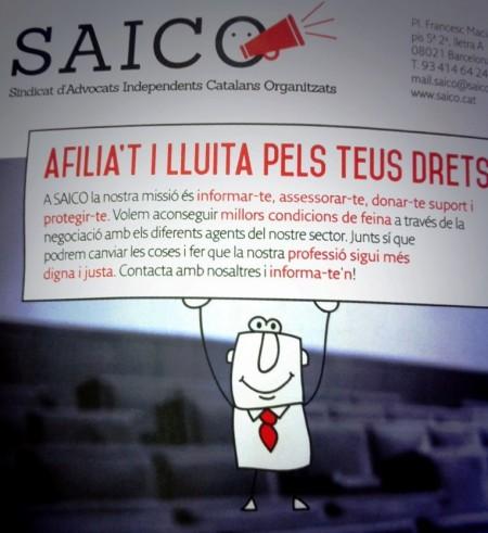 Imagen de uno de los trípticos de información del Sindicato de Abogados Independientes Catalanes Organizados (SAICO).