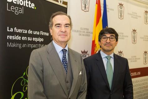 El decano del ICAM,  José María Alonso, y el director de Deloitte Legal y diputado de la Juinta del ICAM, Luis Fernando Guerra