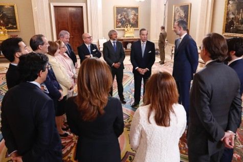 Don Felipe y los miembros de la Junta de Gobierno del ICAM durante el desarrollo de la audiencia / © Casa de S.M. el Rey