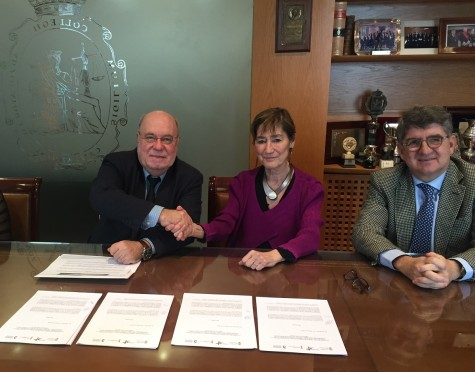 Firma Convenio Juan Jose Sota, Victoria Ortega y el decano de Cantabria Andres de Diego