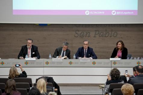 Apertura del European LegalTech Congress. De izq a dcha, Tobias Heining, Carlos Pérez del Valle, José María Alonso y María Jesús González-Espejo